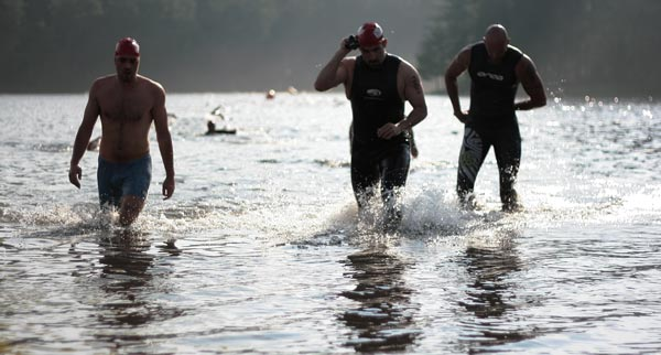 Triathlon Participants as they Exit the First Stage at Lake Arrowhead