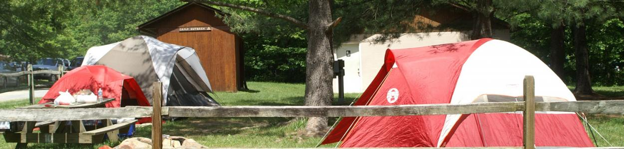 Camp Outback tent camping at Shenandoah River Outfitters.